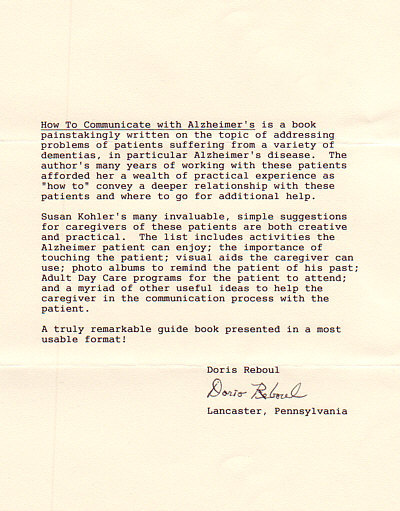 Letter from Doris Reboul in priase of How to Communicate with Alzheimer's